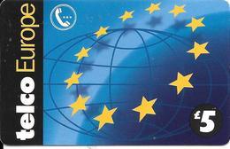 -CARTE-PREPAYEE-GB-5£-TELCO EUROPE--Plastic Fin-R° Glacé--TBE - Royaume-Uni