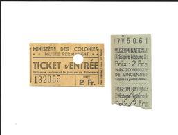 2 Tickets Anciens. Musées Paris. Tickets Différents. Voir Description - Tickets D'entrée