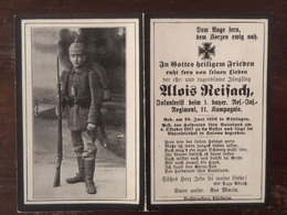 Sterbebild Wk1 Bidprentje Wo1 Avis Décès Deathcard RIR1 LA BASSEE 1917 SALOMË Block 3 Grab 220 Aus Ettringen - 1914-18