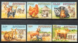 2014 Botswana Baby Farm Animals Dogs Cats Complete Set Of 6 MNH - Botswana (1966-...)