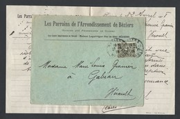 Semeuse Y/T 130 15c Sur Enveloppe  Association Secours Aux Prisonniers De Guerre  Béziers 22/4/1918 - Postmark Collection (Covers)