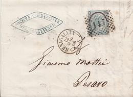 80 - Lettera Con Testo Del 1866 Da Senigallia A Pesaro Con Cent 20 Su 15 Ferro Di Cavallo 1 Tipo  . - 1861-78 Vittorio Emanuele II
