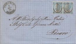 82 - Lettera Con Testo Del 1866 Da Urbania A Pesaro Con Coppia Cent 20 Su 15 Ferro Di Cavallo 1 Tipo  . - 1861-78 Vittorio Emanuele II