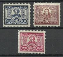 POLEN Poland 1923 Michel 182 - 184 Nikolaus Kopernikus Copernik (*) - Persönlichkeiten