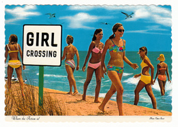 Sexy Ladies On The Beach - Girl Crossing - Size 6 X 4 - 2 Scans - Humour