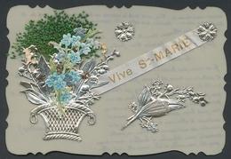 Zelluloid-AK Vive Ste. Marie, Glückwünsche Mit Blumenkorb - Ansichtskarten