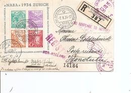 """Suisse ( BF 1 Sur Carte Recommandée De 1934 Du Bureau De Poste De L'exposition """"NABA"""" De Zuric Vers Honolulu à Voir) - Suiza"""
