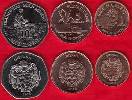 Guyana Set Of 3 Coins: 1 - 10 Dollars 2015-2018 UNC - Guyana