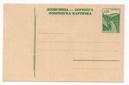 1970s YUGOSLAVIA, STATIONERY CARD, 0,20 DINARA, POSTAL STATIONERY, NOT USED - Ganzsachen