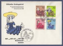 Berlin FDC 1968 - MiNr. 322-325 - Puppen - Offizieller FDC Der Wohlfahrtspflege (A) - [5] Berlijn