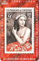 FRENCH POLYNESIA(chip) - Stamp, J.F. De Bora Bora, Tirage 19000, 09/95, Used - Timbres & Monnaies