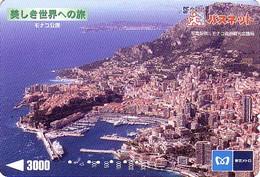 Carte Prépayée Japon - Site Touristique - BAIE & ROCHER De MONACO - Japan Prepaid Metro Card - Landschappen