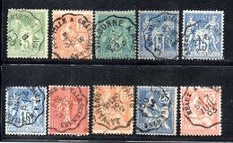 """Frankreich, Ca. 1870, 10 Werte """"Allegorie"""" Mit Bahnstempel  (16131W) - France"""