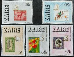 126. ZAIRE 1986 SET/5 STAMP M/S ART, STAMP ON STAMPS,ANIMALS, FLOWERS,FOOTBALL - Stamps