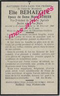 1930-Saint Jans Cappel (59) Elie BEHAEGEL- Adjoint Au Maire--syndicat Agricole-époux De Marie VERRIER - Décès