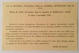 REGIA MARINA - BRANO DI ORDINE DEL GIORNO DOPO LO SGOMBERO DI MONFALCONE E GRADO NV FP - Guerra 1914-18