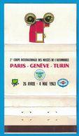 POCHETTE SANS ALLUMETTES PUBLISTIP PARIS / 2eme COUPE INTERNATIONALE DES MUSEES DE L'AUTOMOBILE PARIS GENEVE TURIN 1963 - Boites D'allumettes