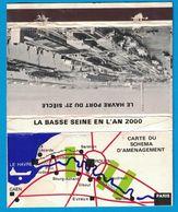 POCHETTE SANS ALLUMETTES CREATION LASTAR PARIS / LA BASSE SEINE EN L'AN 2000 LE HAVRE PORT DU 21e SIECLE CARTE DU SCHEMA - Boites D'allumettes