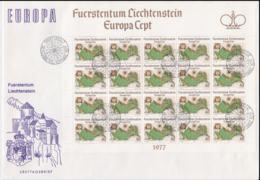 Liechtenstein 1977 FDC Europa CEPT Complete Sheet (LAR5-70P) - Europa-CEPT