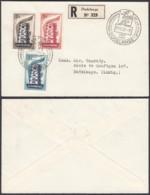 LUXEMBOURG 1958 EUROPA N°514/6 SUR LETTRE REC DE DUDELANGE (BE) DC-3735 - FDC