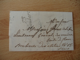 1833 Griffe Marque Lineaire 73 Coubert Lettre Taxee Pour Le Lieutenant General Des Armee - 1801-1848: Précurseurs XIX