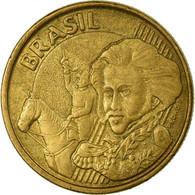 Monnaie, Brésil, 10 Centavos, 2001, TB+, Bronze Plated Steel, KM:649.2 - Brésil