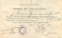 PERMIS DE CIRCULATION MAIRIE D'AVIZE 1915 POUR SE RENDRE A BAR LE DUC - 1914-18