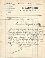 2 Lettres 1906 / 01 DOMSURE / F. JANNODET / Fabrique De Meubles - France