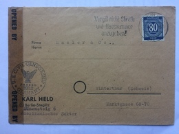 GERMANY Allied Occupation Cover Berlin To Winterthur Switzerland With US Censor Mark And Tape - Zone AAS