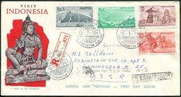 Visit Indonesia 1961 Cover FDC Folk Dances Dancer Danses Volkstänze Music Musik Tanz Musique Temple Tempel > USSR Russia - Indonesia