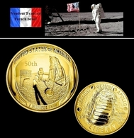 1 Pièce Plaquée OR ( GOLD Plated Coin ) - 2019 Anniversaire 50 Ans Mission Apollo 11 - Coins