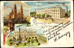 Blason Lithographie Chihuahua Mexiko, Catedral, Gran Cerveceria, Palacio Del Gobierno - Mexico