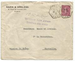 SEMEUSE 75C LIGNEE C. HEX PARIS DEPART 1933 LEVEE EXCETIONNELLE + GRIFFE PARI AVION DE NUIT POUR MARSEILLE RARE - Marcophilie (Lettres)