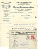 Lettre 1934 + Env Commerciale / 01 BELLEGARDE / E. PERROT / Tannerie, Corroierie / Philatélie DAGUIN - France