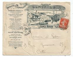 SEMEUSE 10C LETTRE COVER ILLUSTRATION AMERICAN CINEMATOGRAPHE PORT VENDRES PYRENEES ORIENTALES 1911 - Marcophilie (Lettres)