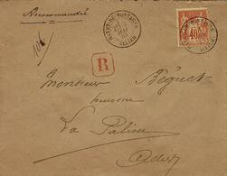 1883- Enveloppe RECC. Affr. N° 94 Oblit. Cad T18 De MAYET-DE-MONTAGNE ( Allier )  Pour La Palisse ( Allier ) - Poststempel (Briefe)