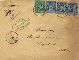 """1882- Enveloppe  Annoté """" Cent Francs """"  N°250 Nul Barré Puis 251  Affr. Sage à 50 C  Cad De JALIGNY / Allier - 1877-1920: Semi Modern Period"""