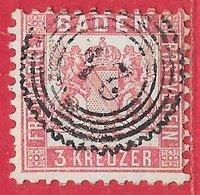Bade N°17 3K Rose (dentelé 10) 1862-64 O - Bade