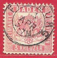 Bade N°17 3K Rose 1862-64 O - Baden