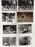 LOT - 8 Small Photos ( 9 Cm / 6.5 Cm ) Children ,MEN AND WOMEN IN SWIMSUITS ON THE BEACH 1955/70.costume Da Bagno - Anonieme Personen