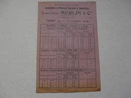 VIEUX PAPIERS - 18 CHER - VIERZON - CATALOGUE (8 Pages) : TARIFS Au 1er Novembre 1935 - ETS MERLIN & CIE - Publicités