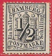 Hambourg N°13 0,5s Noir 1864-65 (*) - Hambourg