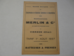 VIEUX PAPIERS - 18 CHER - VIERZON - CATALOGUE (5 Pages) : TARIFS Au 1er Août 1937 - ETS MERLIN & CIE - Publicités