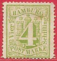 Hambourg N°18 4s Vert 1864-65 (*) - Hambourg