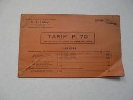 VIEUX PAPIERS - 70 BOURBON-LANCY - CATALOGUE (12 Pages) : C. PUZENAT - Tarif P. 70 LIEUSES - Publicités