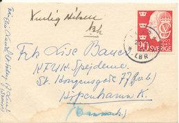 Sweden Cover Sent To Denmark Lund 23-12-1947 Single Franked - Suède