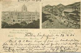 India, BOMBAY, Victoria Railway Station, Street In White City (1901) Postcard - India
