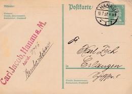Karte Aus Hanau Nach Erlangen  1927 - Germania