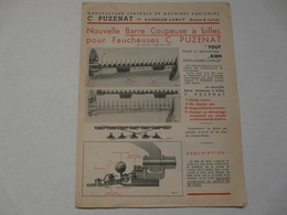 VIEUX PAPIERS - 70 BOURBON-LANCY - CATALOGUE (4 Pages) : C. PUZENAT - Barre Coupeuse à Billes Pour Faucheuse - Publicités