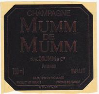 Etiquette Champagne BRUT - MUMM De MUMM Reims - Champagne